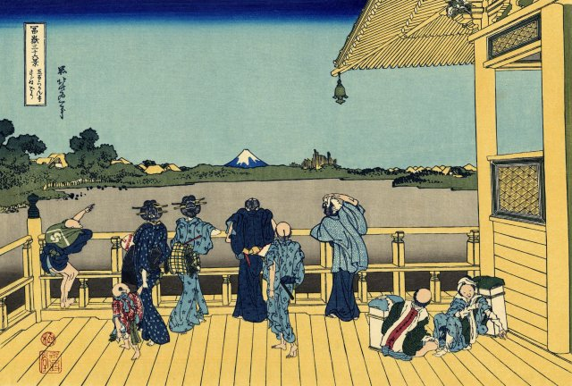 Hokusai Katsushika, The Sazai Hall of the 500 Rakan Temple