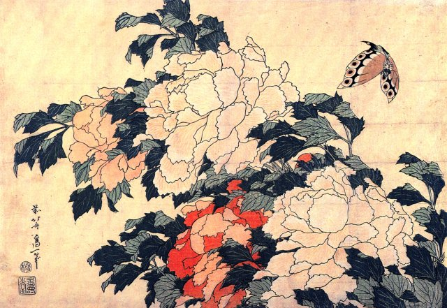 Hokusai Katsushika, Pink and Red Peonies Blown to the Left in a Breeze and a Butterfly