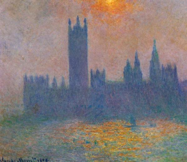 Londres, le Parlement, effet de soleil dans le brouillard
