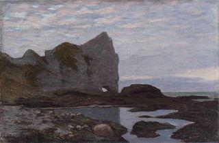 Etretat, Claude Monet vers 1864, huile sur toile, 27 x 41 cm, collection Peindre en Normandie