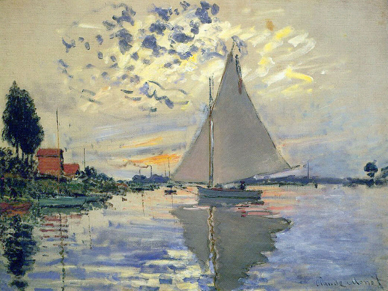 Sail Boat at Le Petit-Gennevilliers Claude Monet 1874
