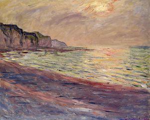 Claude Monet, coucher de soleil à Pourville, 1882, huile sur toile, Musée marmottan-Monet, Paris