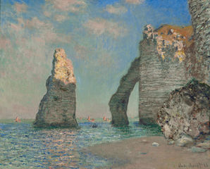 L'Aiguille et la falaise d'Aval, Claude Monet, 1885, huile sur toile 65x81cm, Sterling and Francine Clark Art Institute, Williamstown, Massachusetts